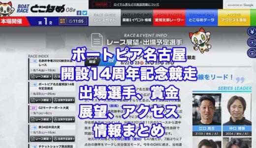 ボートピア名古屋開設14周年記念競走2020(常滑競艇)の予想!速報!出場選手、賞金、展望、アクセス情報まとめ