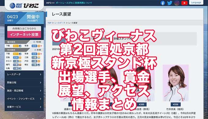 びわこヴィーナス第2回酒処京都新京極スタンド杯2021(びわこ競艇)アイキャッチ