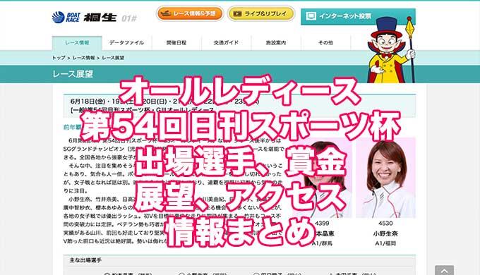 オールレディース2021第54回日刊スポーツ杯(桐生G3)アイキャッチ