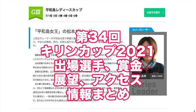 第34回キリンカップ2021(平和島G3)アイキャッチ