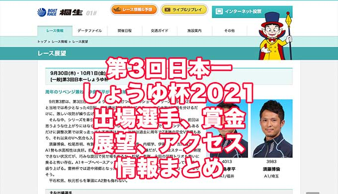 第3回日本一しょうゆ杯2021(桐生競艇)アイキャッチ